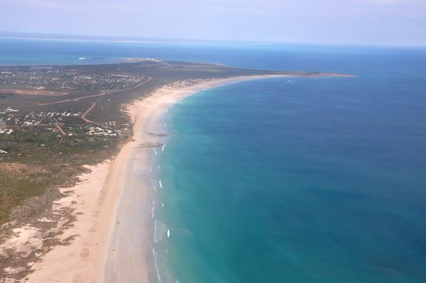 An aerial photograph of Cable Beach and the town of Broome, Western Australia