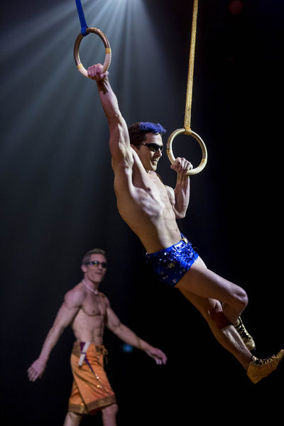 Performers Olli Torkkel (right) and Gael Ouisse (left) prepare for the Perth season of Cirque du Soleil's Totem at the Belmont Racecourse Big Top in Perth