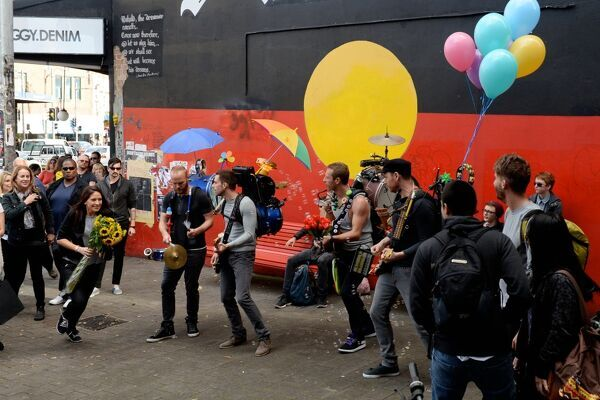 British super group Coldplay making a music video on King Street in Newtown, Sydney