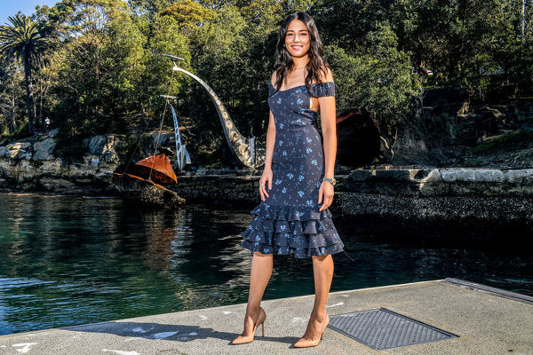 Model Jessica Gomes poses for a photograph at the David Jones Spring Summer 18 Collections launch in Sydney, Wednesday, July 11, 2018. (AAP Image/Brendan Esposito)