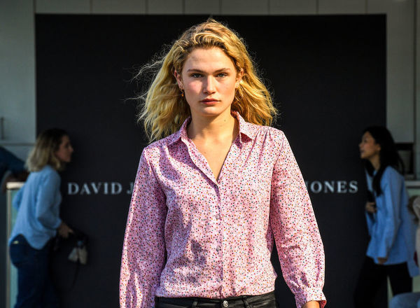 A model auditions at the David Jones Spring Summer 18 Collections launch in Sydney, Wednesday, July 11, 2018. (AAP Image/Brendan Esposito)
