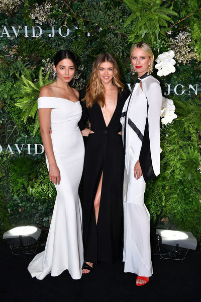 (L-R) Australian model Jessica Gomes, Australian model Victoria Lee and Czech model Karolina Kurkova arrive at the David Jones Spring Summer 2018 Collections Launch, in Sydney, Wednesday, August 8, 2018. (AAP Image/Joel Carrett)
