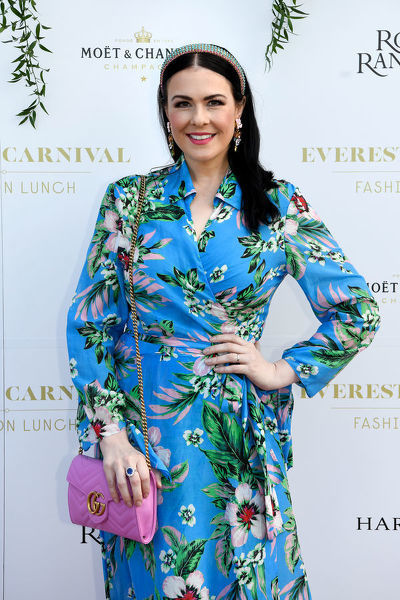 Milliner Viktoria Novak poses for a photograph during the inaugural Everest Carnival Fashion Lunch at Royal Randwick Racecourse in Sydney, Thursday, October 10, 2019. (AAP Image/Bianca De Marchi)