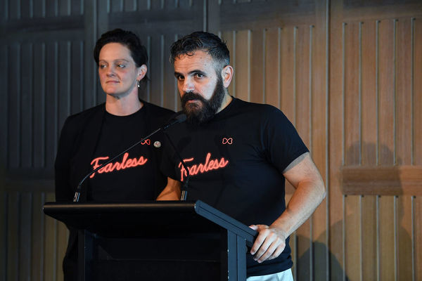 Mardi Gras Board Co-Chair Kate Wickett and Giovanni Campolo-Arcidiaco speak during the Sydney Gay and Lesbian Mardi Gras WorldPride Bid Launch at the Sydney Opera House in Sydney, Thursday, June 6, 2019