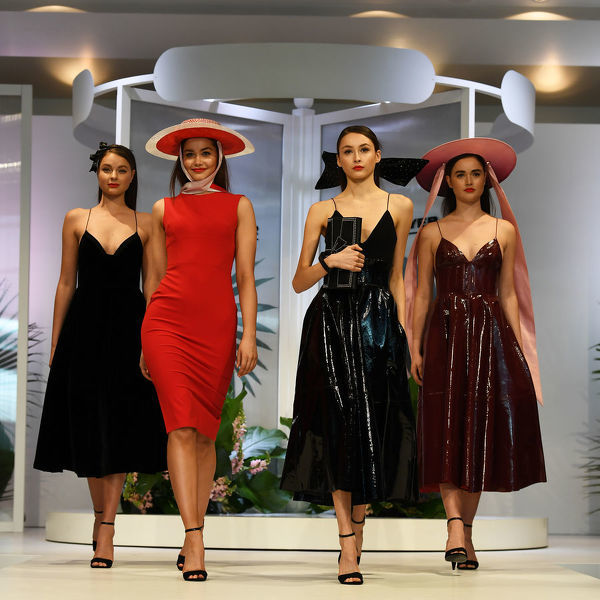Models walks the runway during the Myer Spring Fashion Lunch at Flemington Racecourse, Melbourne, Wednesday, September 12, 2018. (AAP Image/James Ross)
