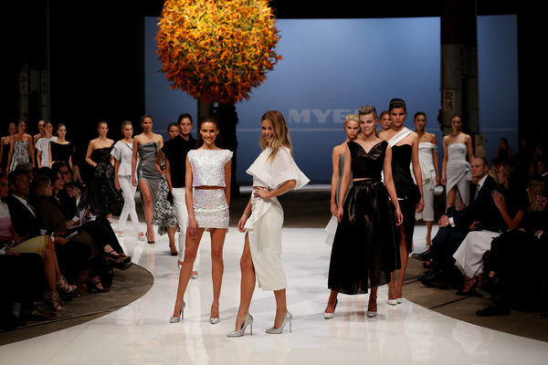 Jennifer Hawkins walks the catwalk in a look at the Myer Spring Summer 2015 show in Sydney