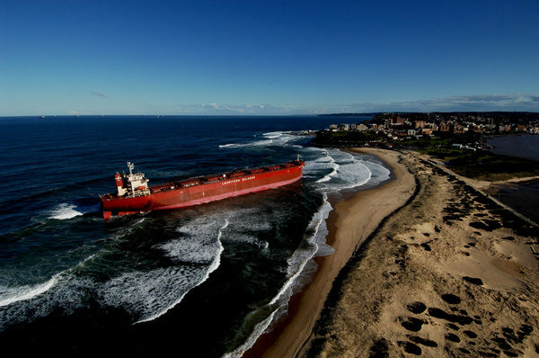 The Pasha Bulker sits off Nobby's Beach, Newcastle after a massive storm lashed the coast