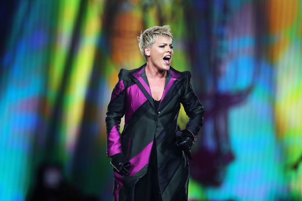 American singer Pink performs in her first concert since returning from illness, of the Beautiful Trauma World Tour, at Qudos Bank Arena, in Sydney, Saturday, August 11, 2018