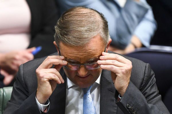 Australian Opposition Leader Anthony Albanese reacts during House of Representatives Question Time at Parliament House in Canberra, Thursday, October 17, 2019. (AAP Image/Lukas Coch)