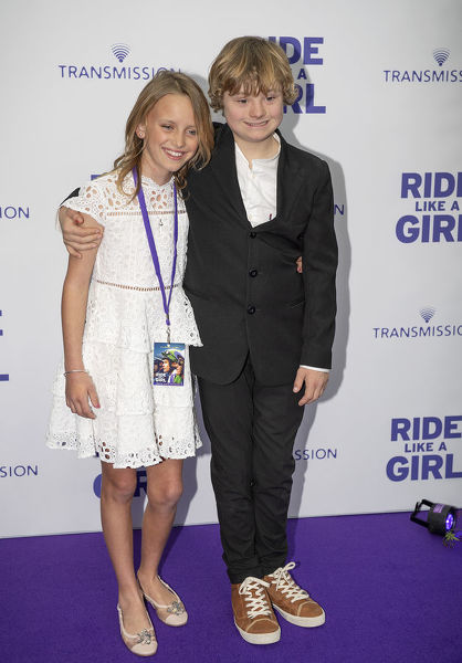 Summer North (left) and Gryffin Morrison during the world premiere of 'Ride Like A Girl' at Village Jam Factory in Melbourne, Sunday, September 8, 2019. 'Ride Like A Girl' is the true story of Michelle Payne, the first female jockey to win the Melbourne Cup