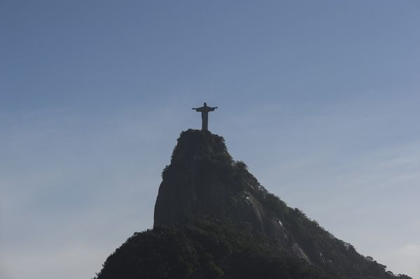 The Christ the Redeemer statue is seen from the Dona Marta lookout in Rio de Janeiro. (AAP Image/Lukas Coch)
