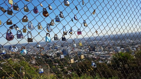 The fence of locks at Runyon Canyon, Los Angeles, Jan. 26, 2016. Runyon Canyon is a 64-hectare park on the eastern side of the Santa Monica mountains and easily accessible from the streets behind Hollywood Boulevard