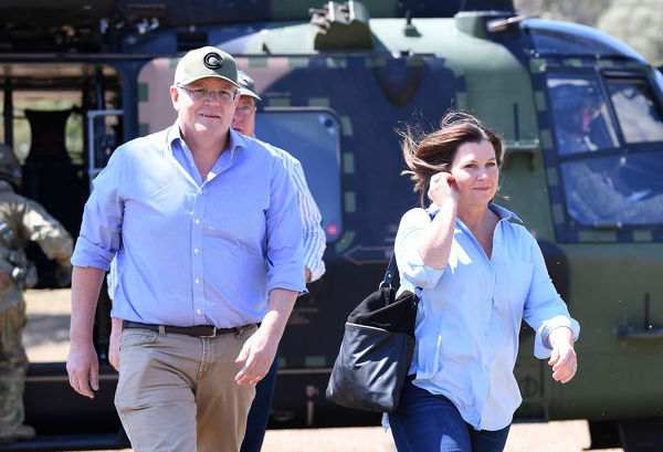 Australian Prime Minister Scott Morrison and wife Jenny arrive at Canungra in the Gold Coast Hinterland, Friday, September 13, 2019. Bushfires claimed scores of homes in Queensland and New South Wales earlier this week with warm