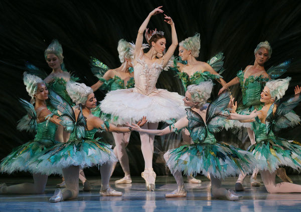 Dancer Lana Jones (centre) in her role as Princess Aurora, is surrounded by nymphs during a 'dreamscape' section of a dress rehearsal for The Australian Ballet production of The Sleeping Beauty