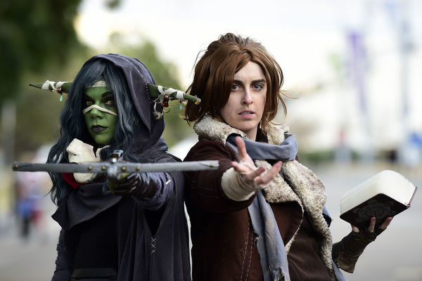 Courtney Cambridge (left) dressed in cosplay as Nott the Brave from Critical Role, and Paris Mondolo (right) dressed as Caleb Widogast from Critical Role, pose for a photograph at Sydney Supanova 2019 conference, Sydney Showground, Olympic Park, Saturday, June 22, 2019