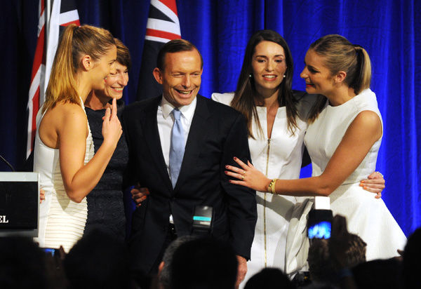 Prime Minister Elect Tony Abbott with his wife Margie and daughters Louise, Frances and Bridgette, as they celebrate his election victory at the Liberal Party function in Sydney