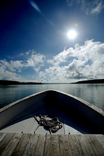 The view of Espiritu Santo Island from the deck of a boat in Vanuatu