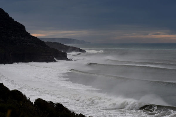 Huge swell continues to pound the New South Wales south coast at Stanwell Park near Wollongong