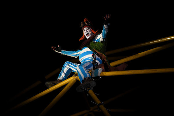 Performers are seen in action at the opening night of White Nght at Birrarung Marr, Melbourne, Thursday, August 22, 2019. White night, a festival of art and culture has launched this evening. (AAP Image/James Ross)