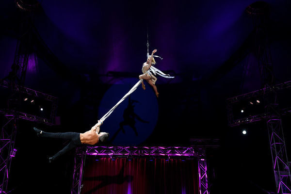 Performers are seen during a media preview of the ZIRK! Circus at the Entertainment Quarter in Sydney, Wednesday, July 3, 2019. The ZIRK! Circus Big Top Spectacular opens tonight and runs until July 21. (AAP Image/Dan Himbrechts)